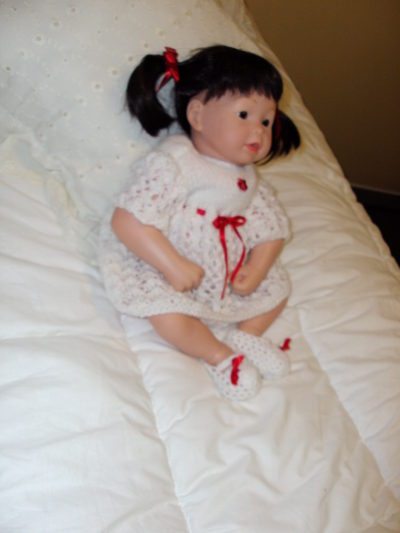 White Crocheted Dress with Red Flower