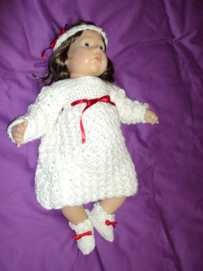 White Crocheted Dress Set