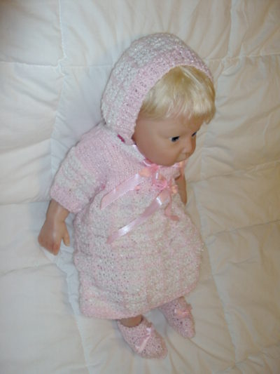 Crocheted Pink and White Dress